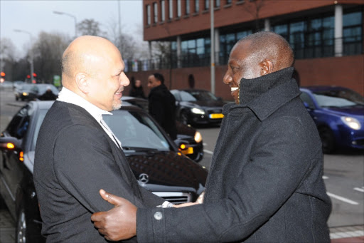 File Image of Deputy President William Ruto and defence lawyer Karim Khan at the ICC in the Netherlands.