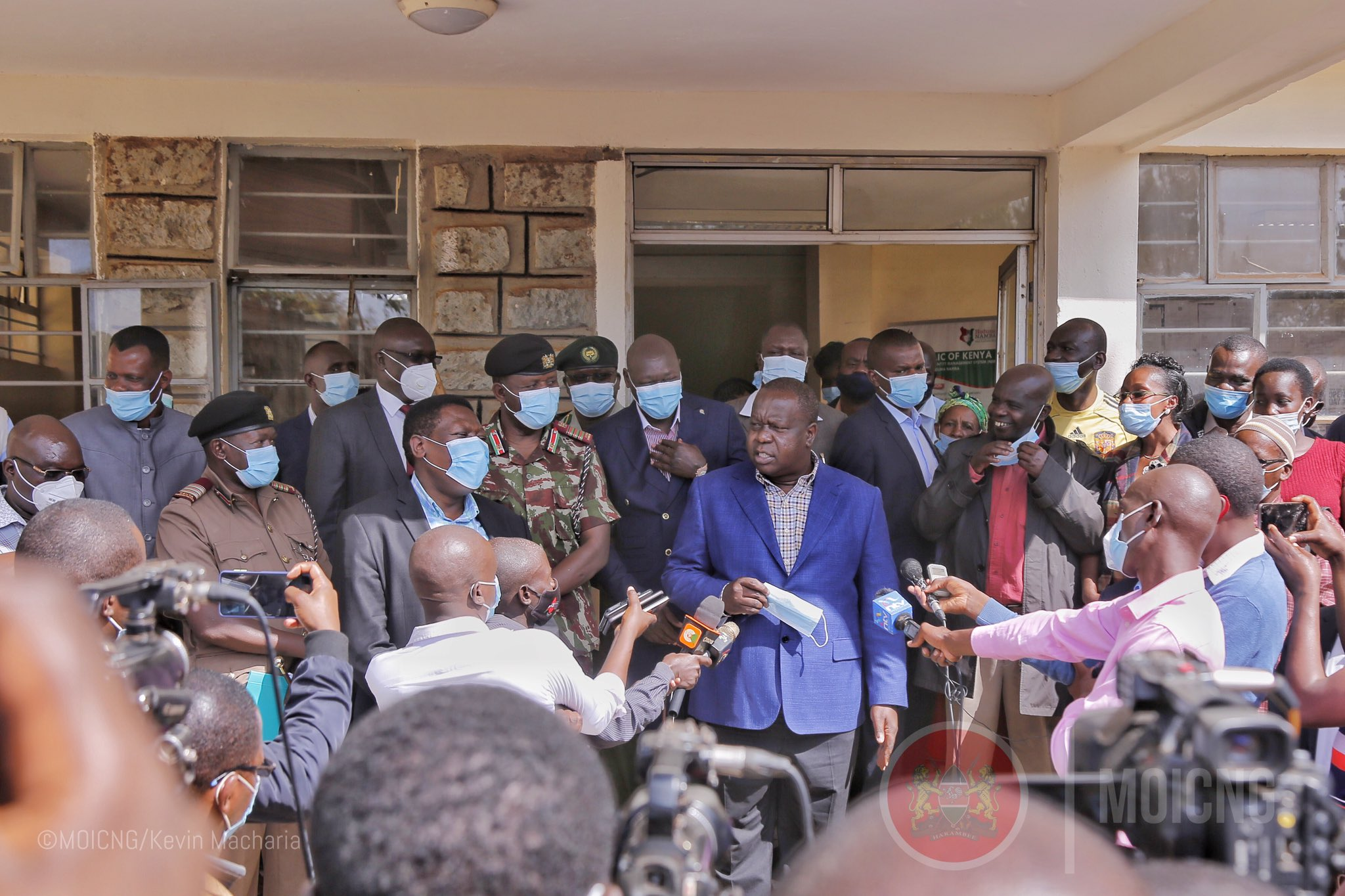 Interior Cabinet Secretary Fred Matiang'i addresses the media in Kitale on Monday, March 1, 2021.
