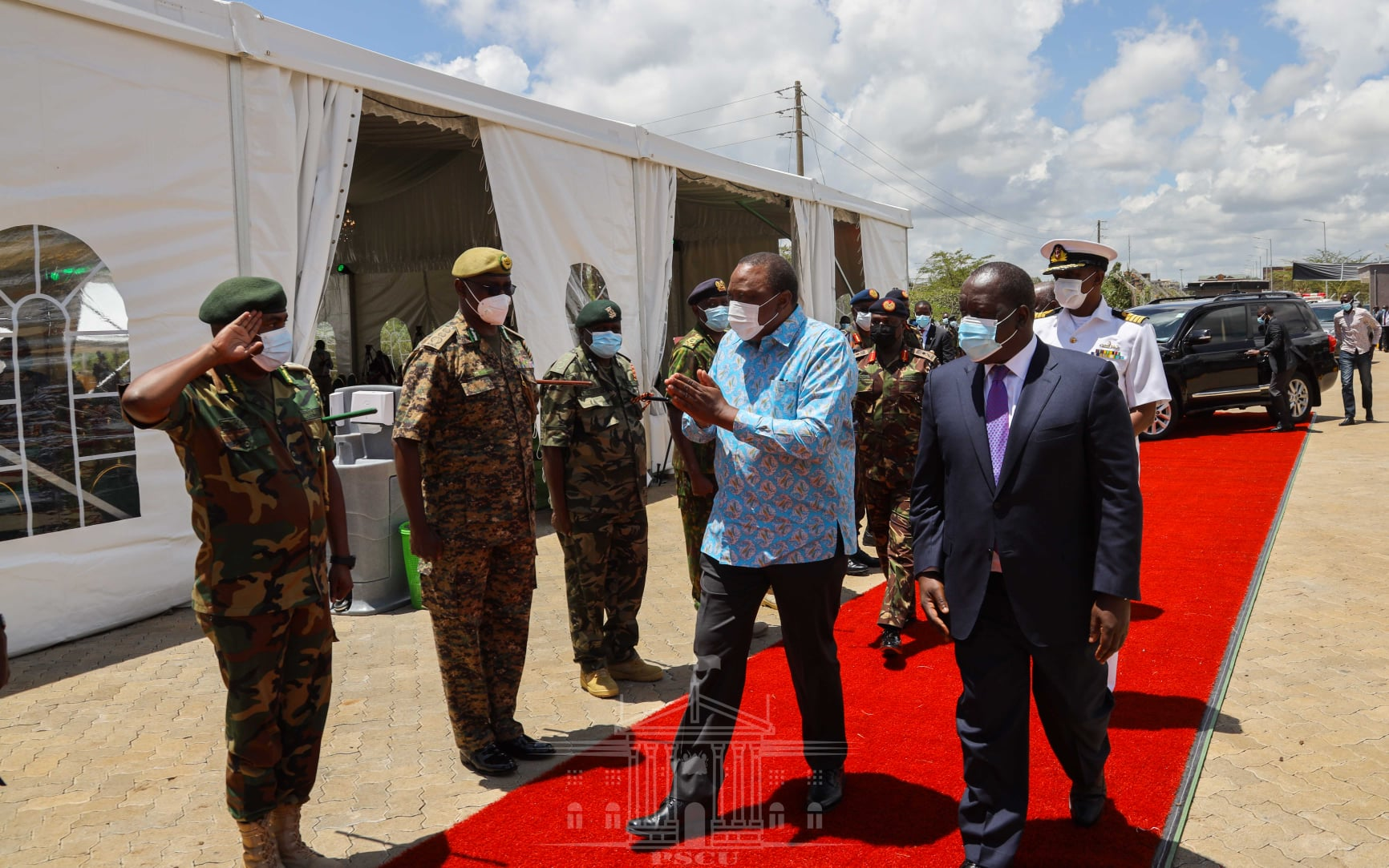 President Uhuru Kenyatta and Interior CS Fred Matiang'i arrive at the National Security Industries in Ruiru, Kiambu County to commission the Small Arms Factory on April 8, 2021. |Courtesy| PSCU|