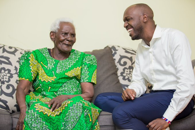 Larry Madowo with his grandmother Francesca Madowo