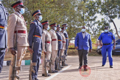 Interior Cabinet Secretary Fred Matang'i inspects a police parade in Kitale.