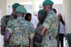 National Youth Service (NYS) Officers at Coronavirus isolation and treatment facility in Mbagathi District Hospital on Friday, March 6, 2020. |Courtesy| Kenyans.co.ke|