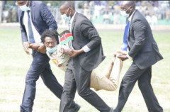 Security Officers Stop Man Attempting to Get To Podium During Uhuru's Speech