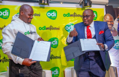 File Image of Charles Odongo popularly known as #UgaliMan and Odibets General manager Dedan Mungai.