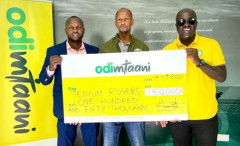Odibets marketing manager Aggrey Sayi (left), Tedium Rodgers and Fred Arocho.