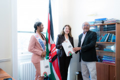From Left: Miss England 2021 Rehema Muthamia, Yvette Philbert, and Ambassador Kiarie Kamere. |Courtesy| Twitter|